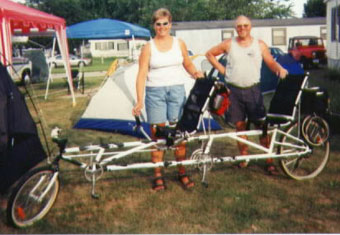 Chuck and Sue Buehrer on their cowbike